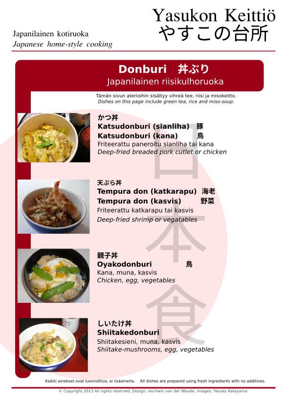 Japanilainen riisikulhoruoka (donburi) (katsudonburi, tempura don, oyakodonburi, shiitakedonburi)